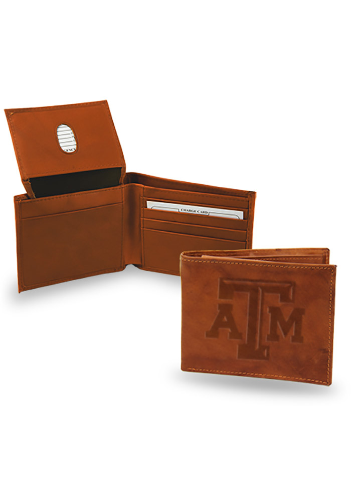 Texas A&M Aggies Embossed Leather Mens Bifold Wallet - Image 1
