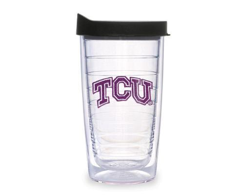 TCU Horned Frogs 16oz Clear Lid Tumbler - Image 1