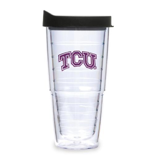 TCU Horned Frogs 24oz Clear Lid Tumbler - Image 1