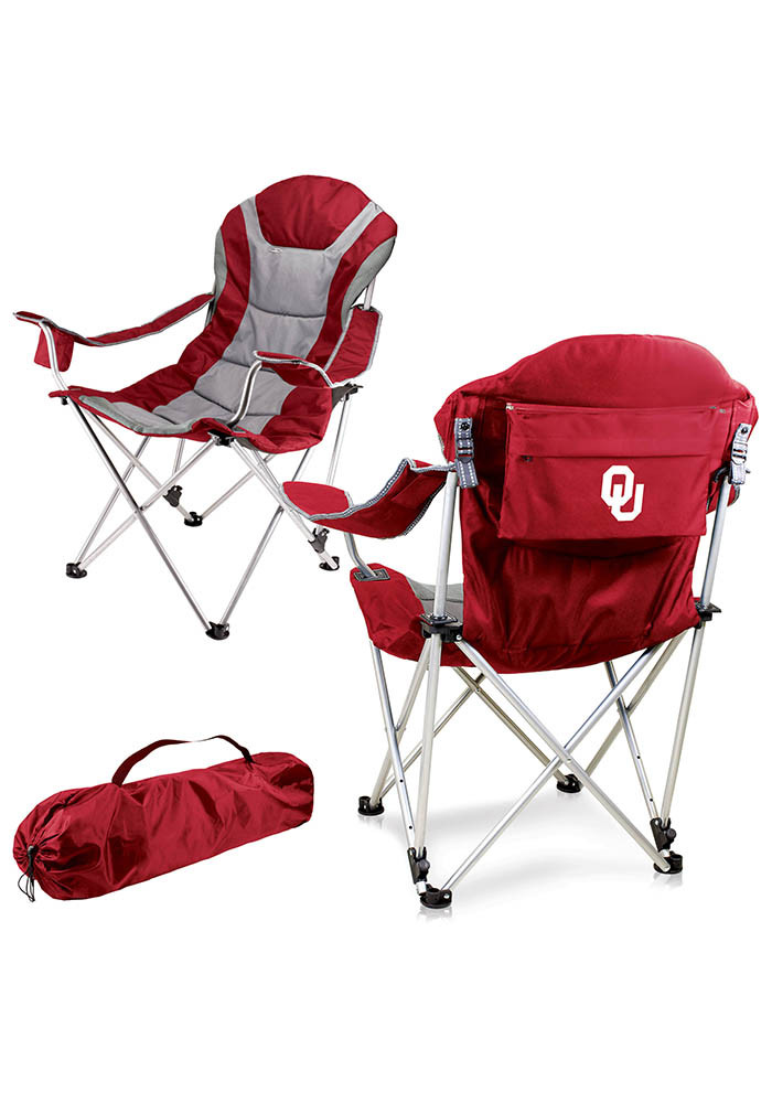 Oklahoma Sooners Reclining Camp Canvas Chair - Image 1