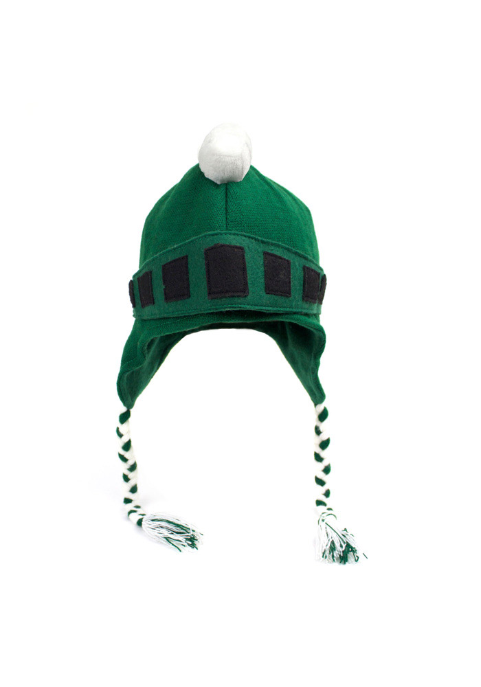 Michigan State Spartans Green Mascot Braided Mens Knit Hat - Image 1