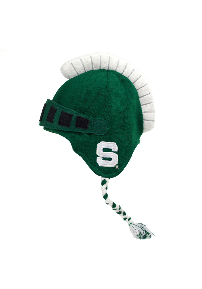 Michigan State Spartans Green Mascot Braided Mens Knit Hat - Image 2