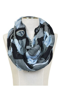 Sporting Kansas City Womens Buffalo Check Scarf - Navy Blue