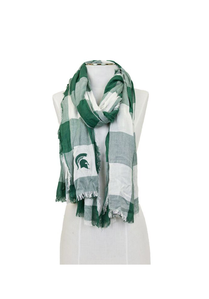 Michigan State Spartans Buffalo Check Womens Scarf - Image 1