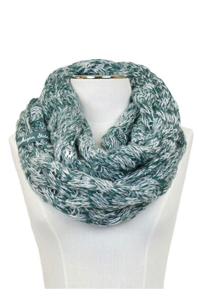 Michigan State Spartans Duo Color Knit Infinity Womens Scarf - Image 1