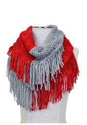 Red & Grey Knit Weave Scarf