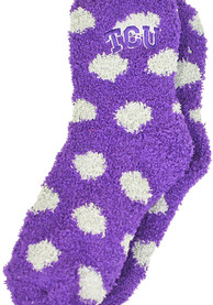TCU Horned Frogs Womens Polka Dot Fuzzy Quarter Socks - Purple