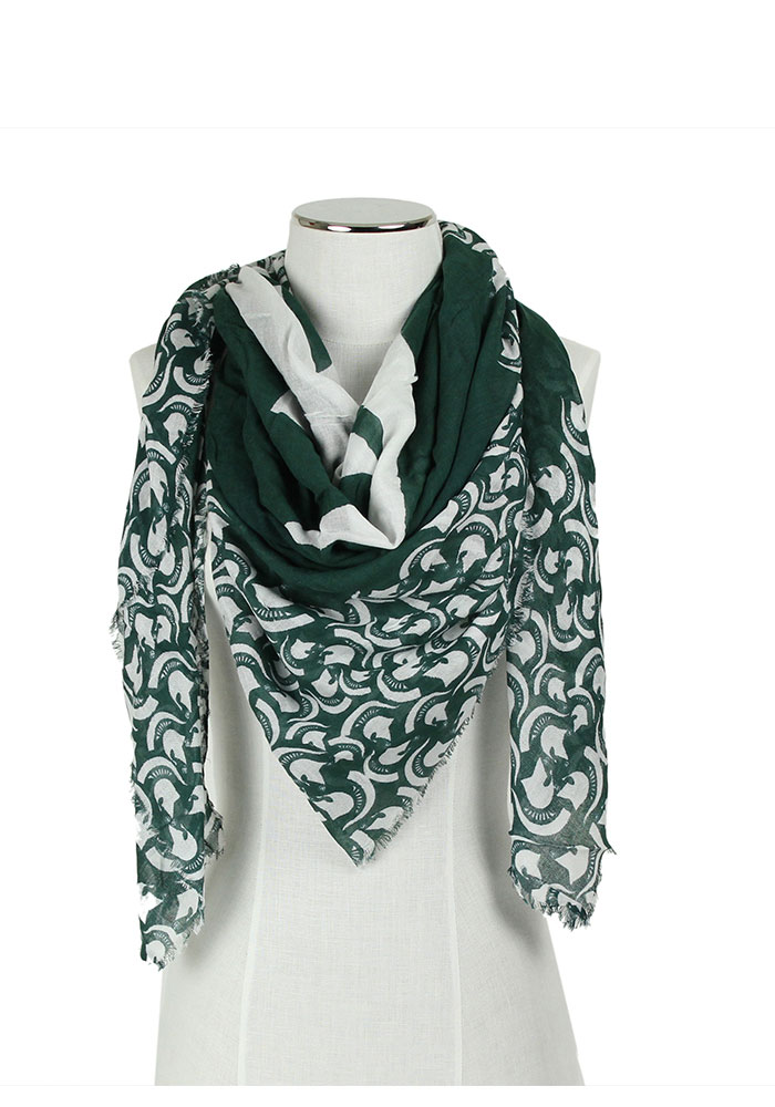 Michigan State Spartans Womens Oversized Square Scarf - Green