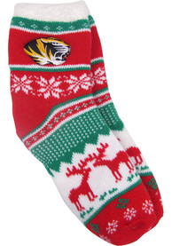 Missouri Tigers Womens Christmas Quarter Socks - Red