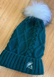 Michigan State Spartans Green Cable Knit Womens Knit Hat
