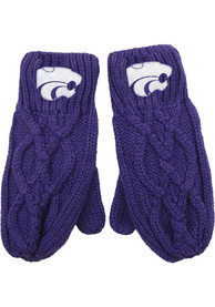 K-State Wildcats Womens Cable Mittens Gloves - Purple