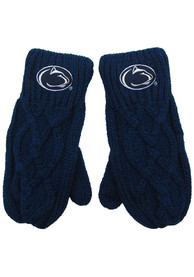 Penn State Nittany Lions Womens Cable Mittens Gloves - Navy Blue