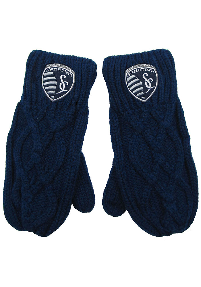 Sporting Kansas City Womens Cable Mittens Gloves - Navy Blue