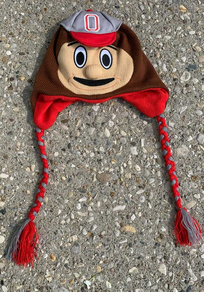 Ohio State Buckeyes Red Mascot Mens Knit Hat - Image 1