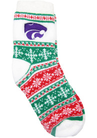 K-State Wildcats Womens Holiday Quarter Socks - Red