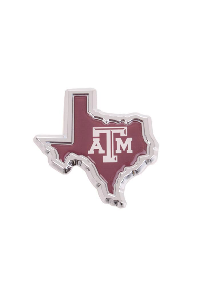 Texas A&M Aggies Domed Texas Shaped Car Emblem - Maroon - Image 1
