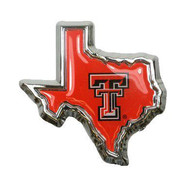 Texas Tech Red Raiders Domed Red Texas Shaped Car Emblem - Red