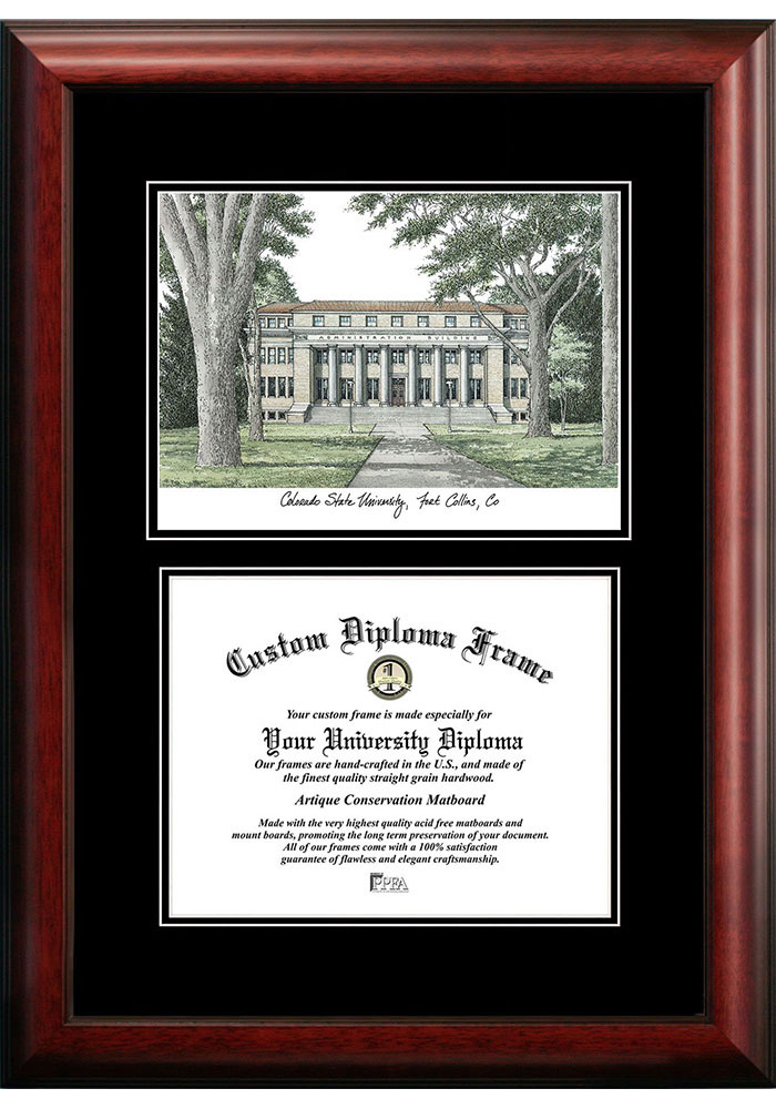 Colorado State Rams Diplomate and Campus Lithograph Picture Frame - Image 1