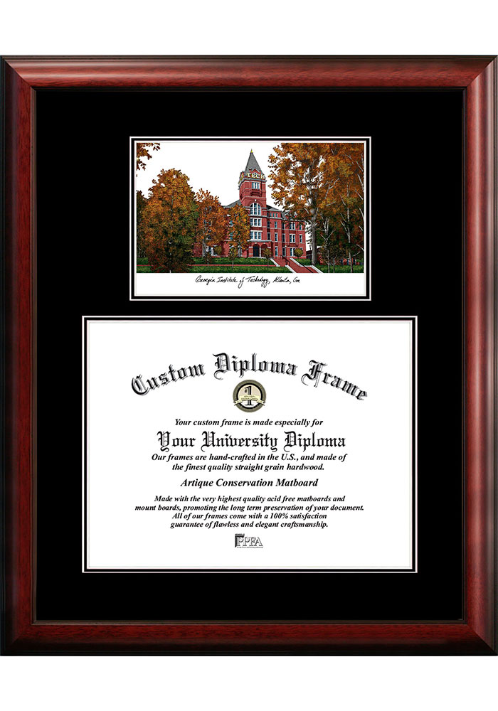 GA Tech Yellow Jackets Diplomate and Campus Lithograph Picture Frame - Image 1
