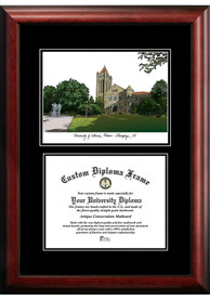 Illinois Fighting Illini Diplomate and Campus Lithograph Picture Frame