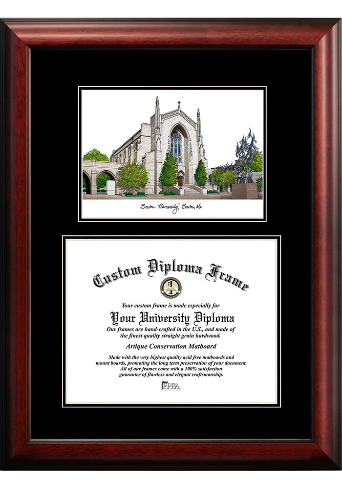 Boston Terriers Diplomate and Campus Lithograph Picture Frame - Image 1