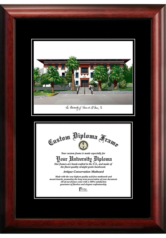 UTEP Miners Diplomate and Campus Lithograph Picture Frame - Image 1