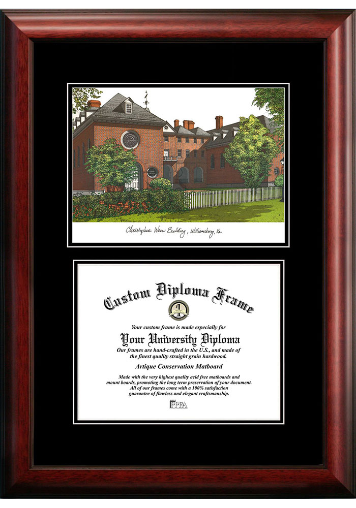 William & Mary Tribe Diplomate and Campus Lithograph Picture Frame