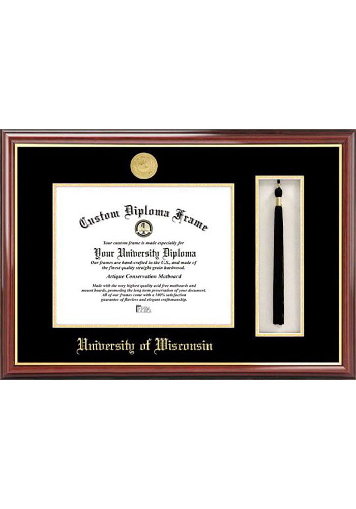 Wisconsin Badgers Tassel Box Diploma Picture Frame - Image 1