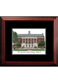 Black Matted Campus Lithograph Wall Art