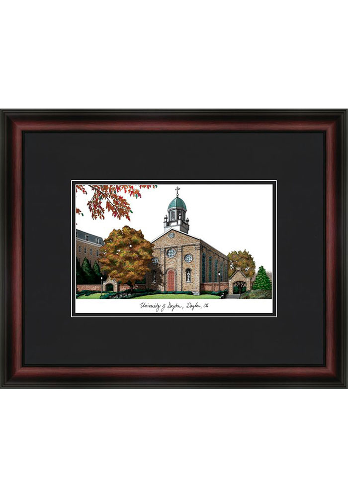 Dayton Flyers Black Matted Campus Lithograph Wall Art - Image 1