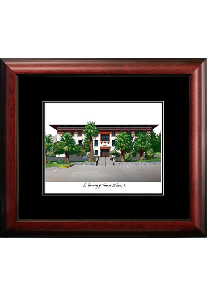 UTEP Miners Black Matted Campus Lithograph Wall Art - Image 1