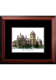 Wayne State Warriors Black Matted Campus Lithograph Wall Art