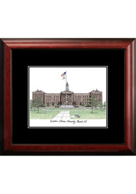 Western Illinois Leathernecks Black Matted Campus Lithograph Wall Art