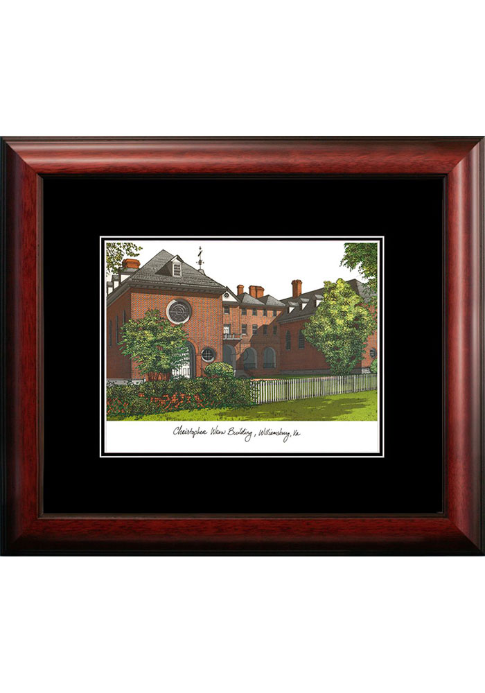 William & Mary Tribe Black Matted Campus Lithograph Wall Art - Image 1