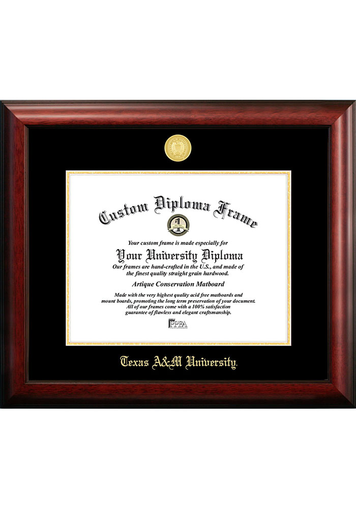 Texas A&M Aggies Gold Embossed Diploma Frame Picture Frame - Image 1