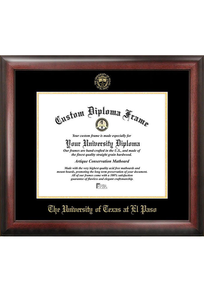 UTEP Miners Gold Embossed Diploma Frame Picture Frame - Image 1