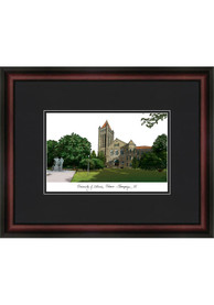 Illinois Fighting Illini Black Matted Campus Lithograph Wall Art