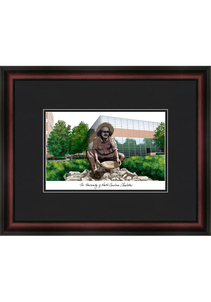 UNCC 49ers Black Matted Campus Lithograph Wall Art - Image 1