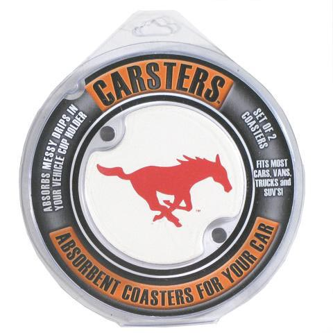 SMU Mustangs 2 Pack Auto Car Coaster - Image 1