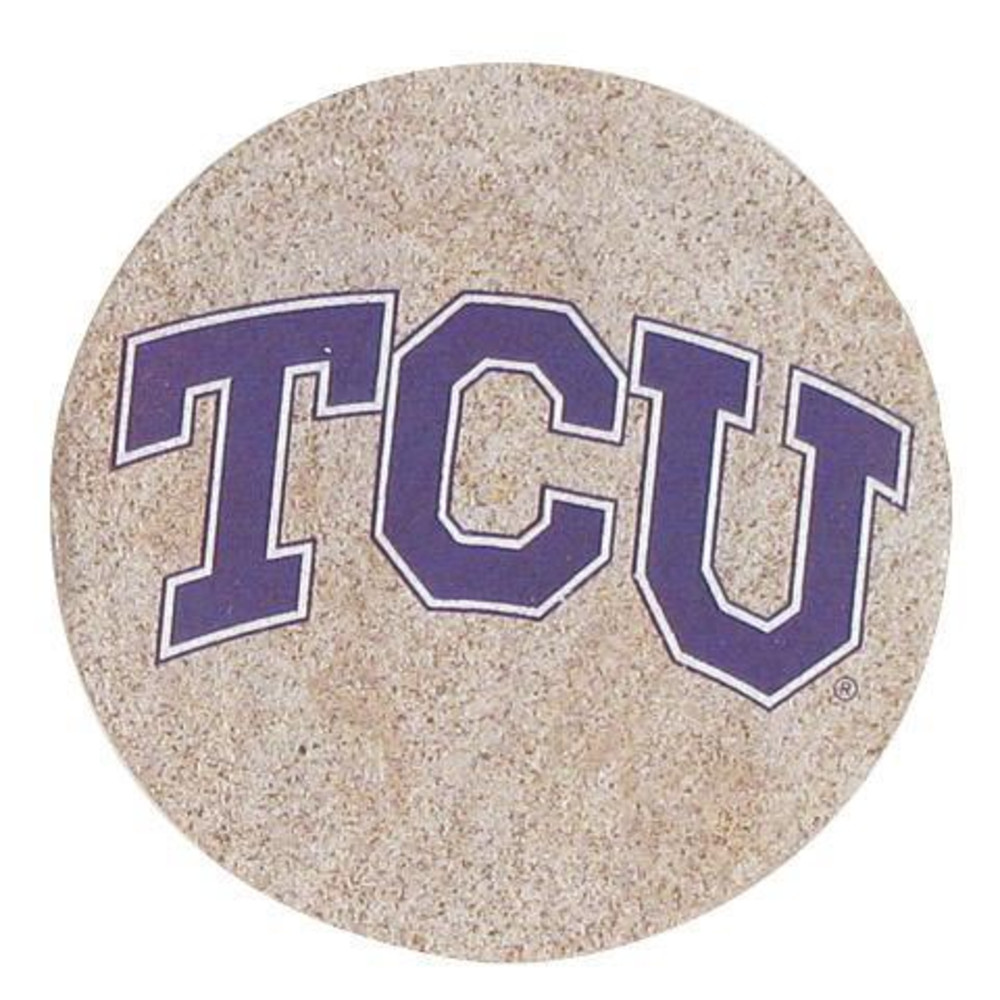 TCU Horned Frogs Sandstone Coaster - Image 1