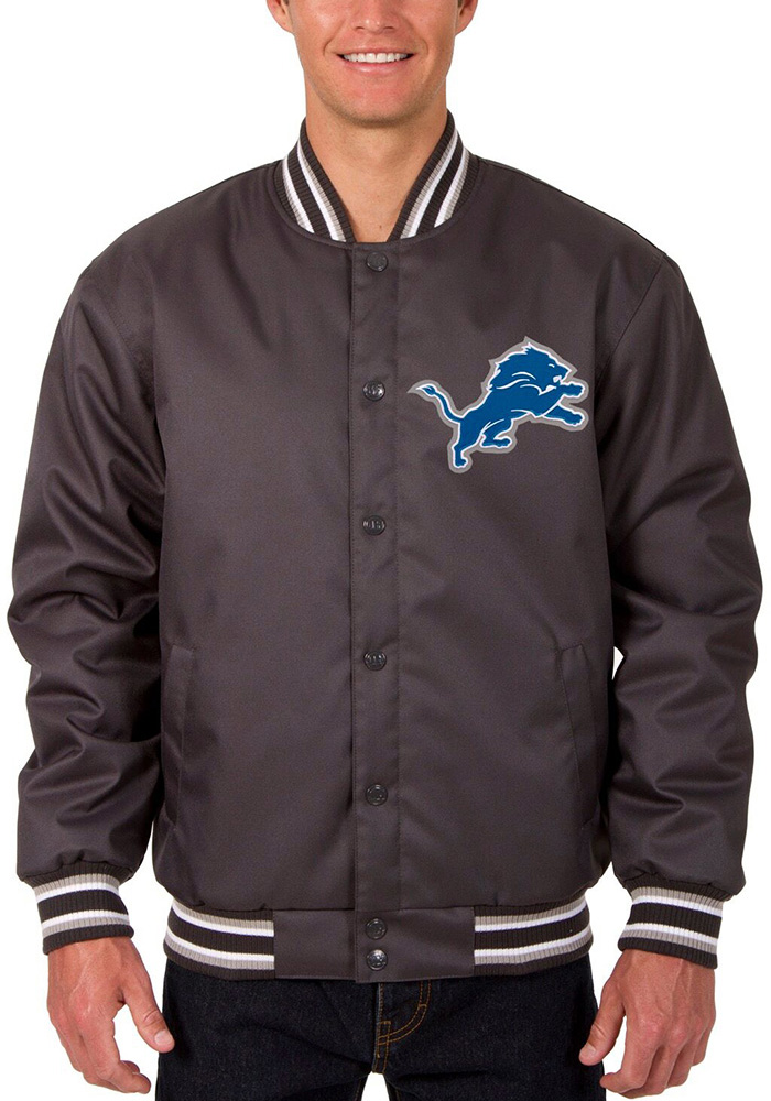 Detroit Lions Mens Grey Poly-Twill Heavyweight Jacket - Image 1