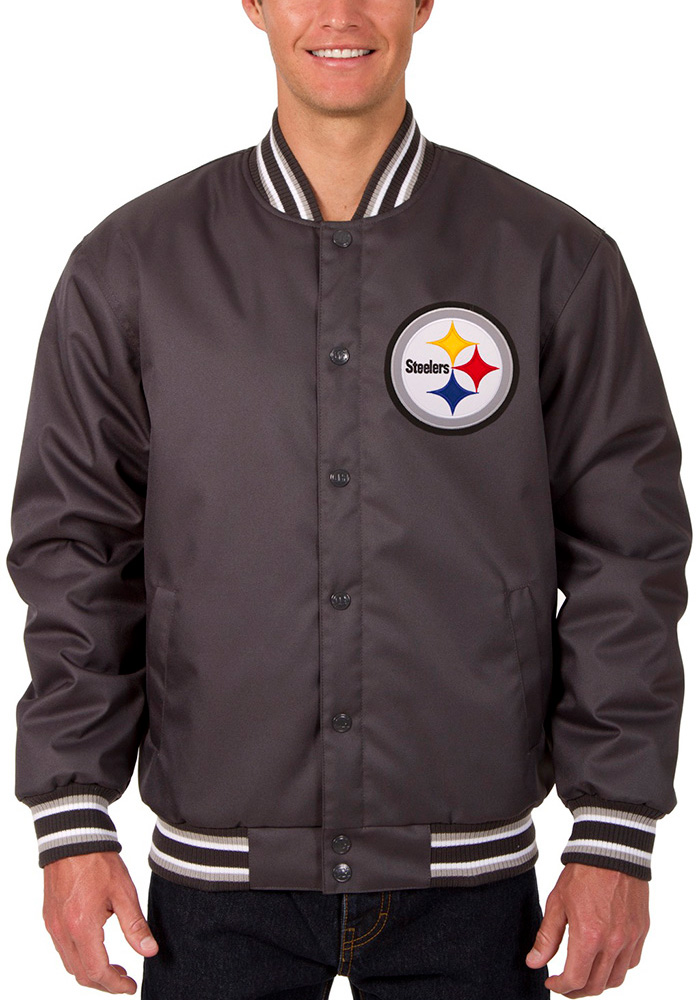 Pittsburgh Steelers Mens Grey Poly-Twill Heavyweight Jacket - Image 1