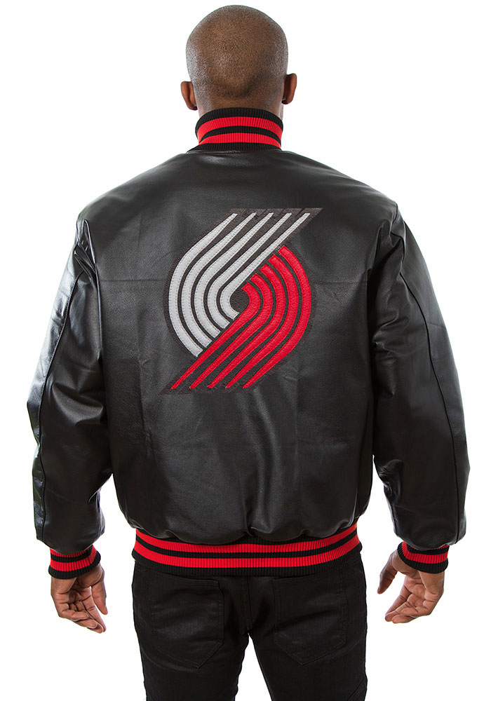 Portland Trail Blazers Mens Black all leather jacket Heavyweight Jacket - Image 2