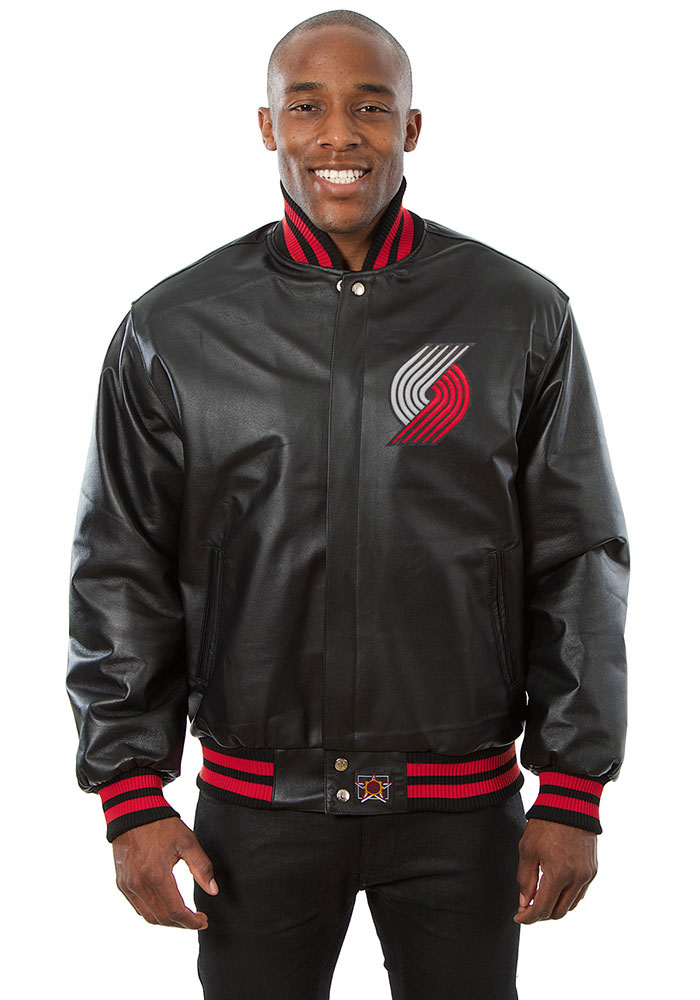 Portland Trail Blazers Mens Black all leather jacket Heavyweight Jacket - Image 1