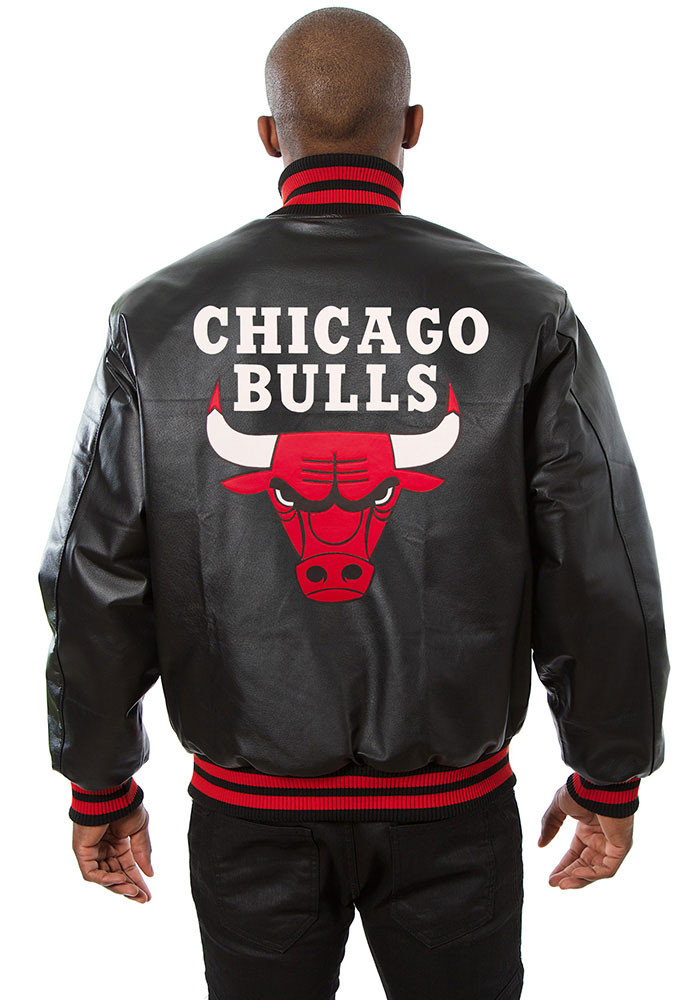 Chicago Bulls Mens Black all leather jacket Heavyweight Jacket - Image 2
