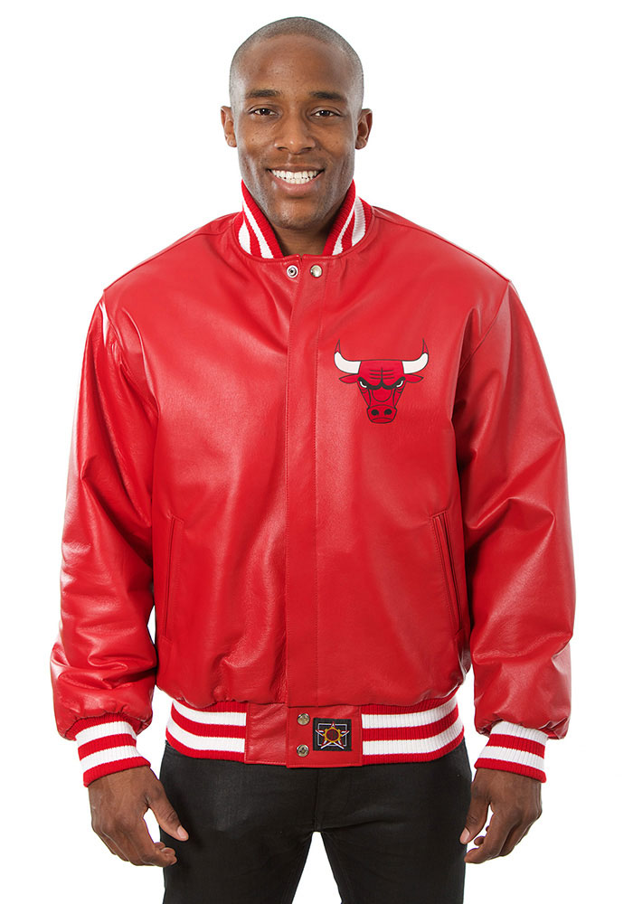 Chicago Bulls Mens Red all leather jacket Heavyweight Jacket - Image 1