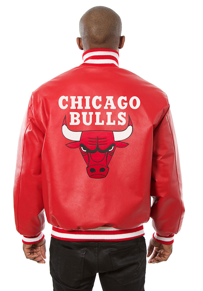 Chicago Bulls Mens Red all leather jacket Heavyweight Jacket - Image 2