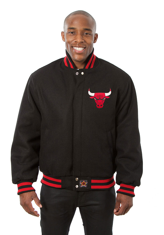 Chicago Bulls Mens Black all wool jacket Heavyweight Jacket - Image 1