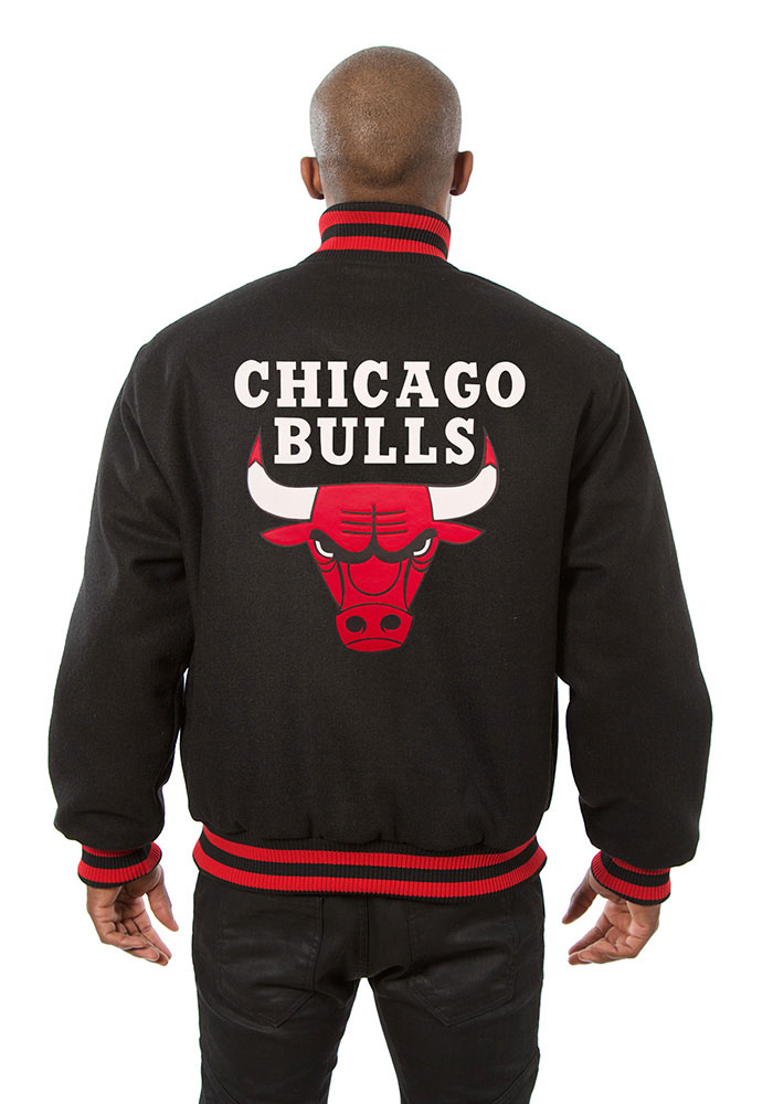 Chicago Bulls Mens Black all wool jacket Heavyweight Jacket - Image 2