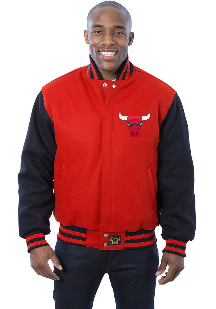 Chicago Bulls Mens Red all wool jacket Heavyweight Jacket - Image 1